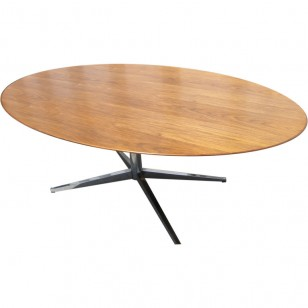 Florence Knoll walnut oval table desk