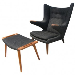 Grey Papa Bear Chair with Ottoman by Hans Wegner