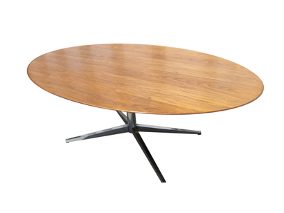[SOLD]Vintage Oval Walnut Table Desk By Florence Knoll
