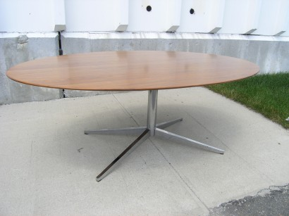 Elegant Machine Age U2013 New Englandu0027s Largest Selection Of Mid 20th Century Modern  Furniture | [SOLD]Vintage Oval Walnut Table Desk By Florence Knoll