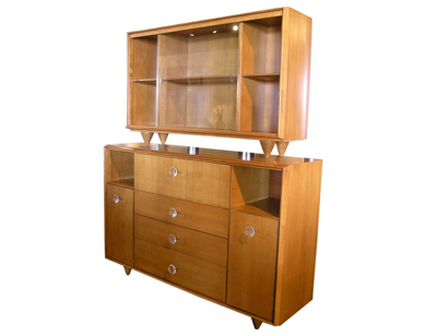 Superieur [SOLD] Two Piece Ash Group Cabinet By Gilbert Rohde For Herman Miller