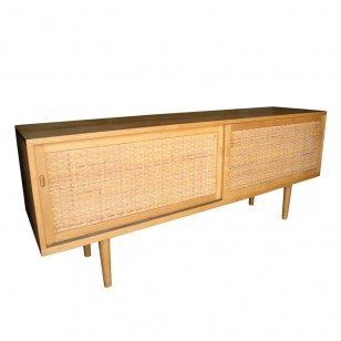 Hans Wegner oak and rattan sideboard