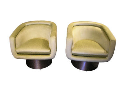 Green Chairs on Machine Age   Pair Of Swivel Tub Chairs By Leon Rosen For Pace