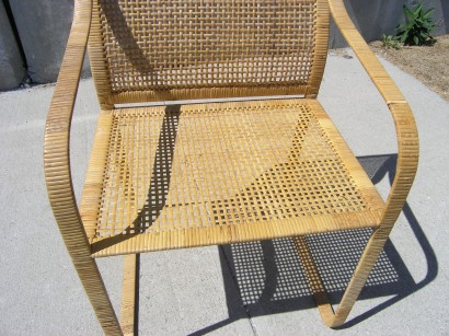 set of six hand woven rattan dining chairs by harvey probber