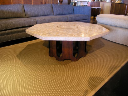 Sold Octagonal Travertine And Marble Coffee Table By Harvey Probber