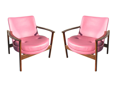 Pair Of Rosewood And Leather Armchairs