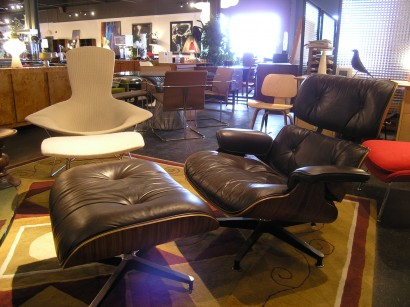 Vintage Brown Leather Lounge Chair And Ottoman By Eames For Herman Miller