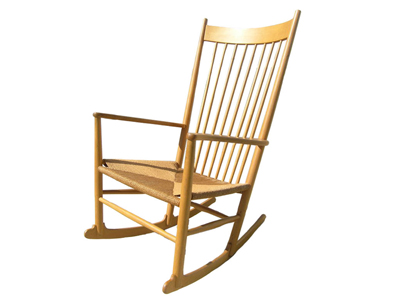[SOLD]Oak And Paper Cord J16 Rocking Chair By Hans Wegner
