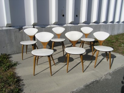 set of six vintage side chairs by norman cherner for plycraft