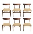 Wegner Teak and Paper Cord Dining Chair