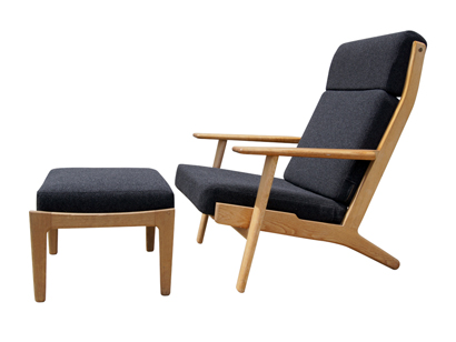High Back Lounge Chair And Ottoman By Hans Wegner For Getama