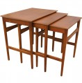 Set of Three Teak Nesting Tables by Hans Wegner for Andreas Tuck