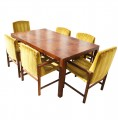 Walnut Burlwood Dining Table and Set of Six Chairs by Rapids