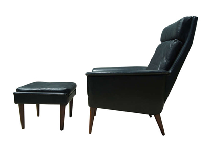 [SOLD] Highback Leather Armchair By Fritz Hansen With Ottoman By Hans Olsen