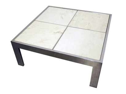 Pace Collection Chrome And Marble Tile Coffee Table