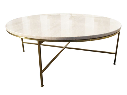 [SOLD] Travertine And Brass Coffee Table By Paul McCobb