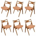 Set of Six CH-29 Sawback Dining Chairs by Hans Wegner