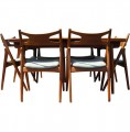Dining Suite by Hans Wegner with Extension Dining Table and Six Chairs