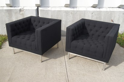 Pair Of Tufted Club Chairs By Jack Cartwright