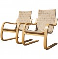 Pair of Lounge Chairs #406 by Alvar Aalto for Artek