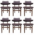 Set of Six Leather Dining Chairs by Edward Wormley for Dunbar