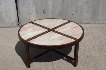 S Inlaid Marble And Chrome Coffee Table