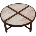 Segmented Marble Coffee Table with Mahogany Base by Tommi Parzinger