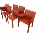 Set of Six CAB 412 and 413 Dining Chairs by Mario Bellini for Cassina