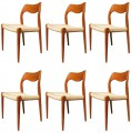 Set of Six Teak Dining Chairs Model 71 by Niels Otto Møller