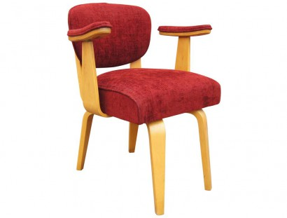 Mid Century Upholstered Bentwood Armchair With Padded Armrests By Thonet