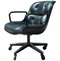 Black Leather Executive Chair by Charles Pollock for Knoll