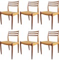 Set of Six Teak Side Chairs, Model 78, by Neils Otto Møller for J.L. Møllers