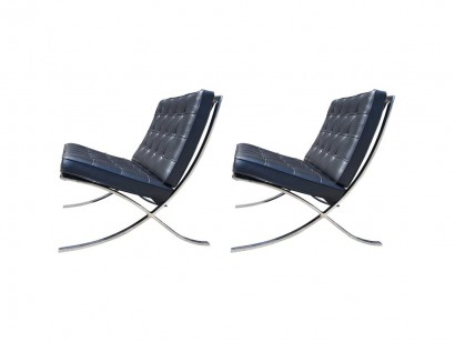 [SOLD] Pair Of Black Leather Barcelona Chairs By Mies Van Der Rohe For Knoll